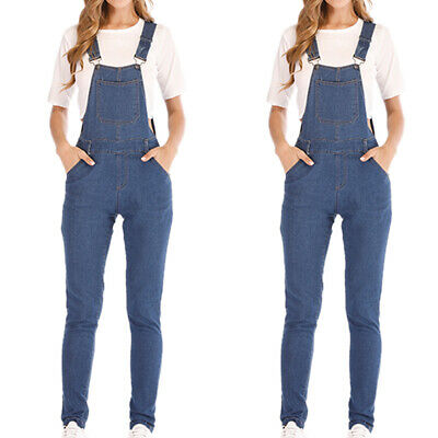 Women's Wash Denim Overalls Jumpsuit Dungarees Straps Ripped Jeans Long Trousers