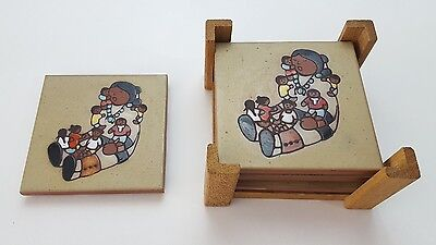 CLEO TEISSEDRE Hand Painted Ceramic Tile Coaster Set Native American Storyteller