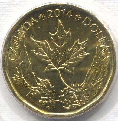 2014 CANADA UNC SPECIMEN 'MAPLE LEAF' ONE DOLLAR Coin