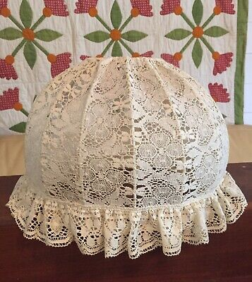 Vintage Antique Old Shabby Chic Cottage Victorian Ivory Cream Lace Lamp Shade