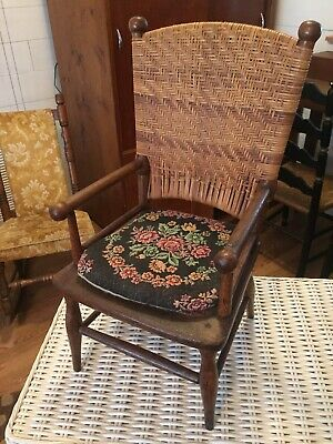 Antique Vintage Old Child's Wood Woven Chair Needlepoint Cushion Date 1894 1967