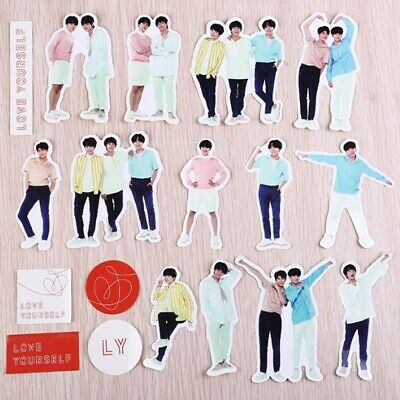 18Pcs BTS Love Yourself Adhesive Photo Sticker for Scrapbook Phone Diary Sticker