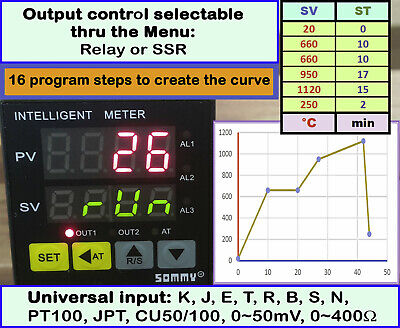 16 segments Ramp Soak Kiln Temperature Controller PID Auto-tune TC RTD Analog