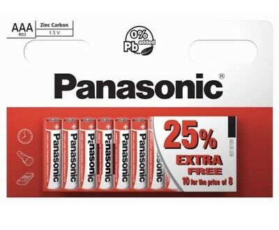 10 x AAA Panasonic Zinc Carbon Batteries LR03 1.5V MN2400 EX FEB 2022