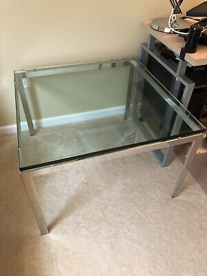 "Vintage 1970s Mid Century Modern Solid Chrome Glass Top 32"" Square Coffee Table"