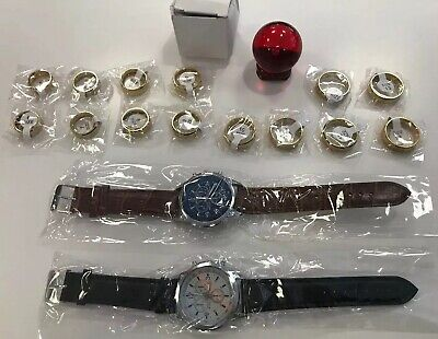 Junk Drawer Lot New Watches + 14 Gold Tone Mason Rings + Red Crystal Ball Gifts