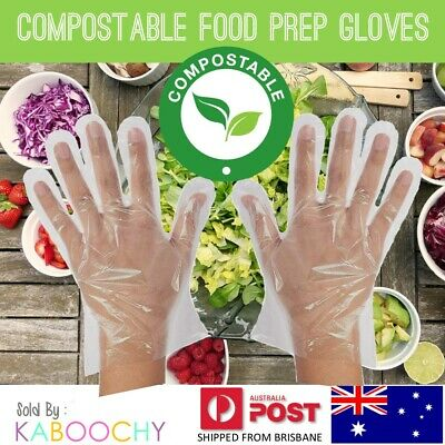 Compostable Disposable Bio-Plastic Food Prep Gloves. Biodegradable, Eco-Friendly