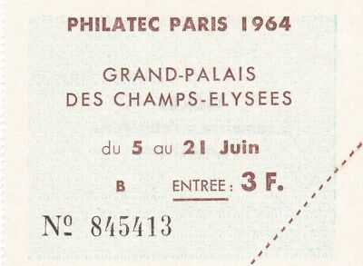 Philatelic Paris 1964 Grand Palais Entrance 5-21st June Ticket Mint Condition