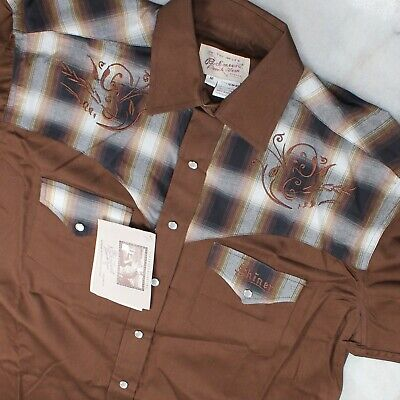 Rockmount Ranch Wear Western Shirt Shiner Beer Pearl Snap Size M Brown & Plaid