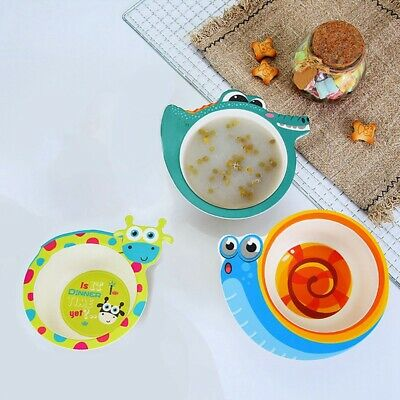 Children Food Cartoon Dishes Bamboo Fiber Baby Bowl Dinnerware Set Dining Plate