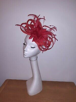 Red fascinator feathers net/veiling Hatinator weddings/races special occasions