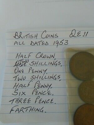 9 QE2 UK Britain British Coins Date 1953 Penny Pence Farthing Crown Shilling Set