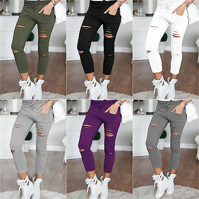 4f973a46ddab51 Damen Skinny Stretchy Ripped Hosen Leggings Treggings Jogging Hochbund  Leggins