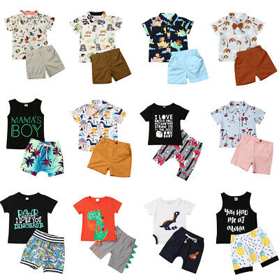 US 2PCS Toddler Kids Baby Boy Short Sleeve Shirt Shorts Pants Clothes Outfit