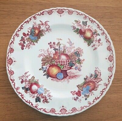 Masons Fruit Basket Plate White And Red England 26cm Diameter Leaves