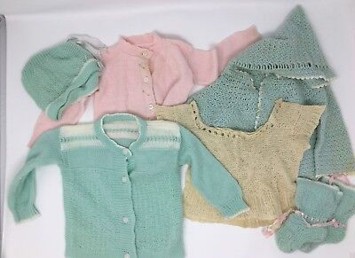 Vintage Large Lot Of Baby Infant Toddler Sweaters Top Booties Bonnet