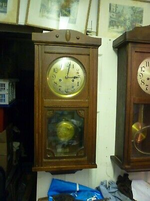 Antique Oak Regulator Type 8 Day Striking Wall Clock In Good Working Order