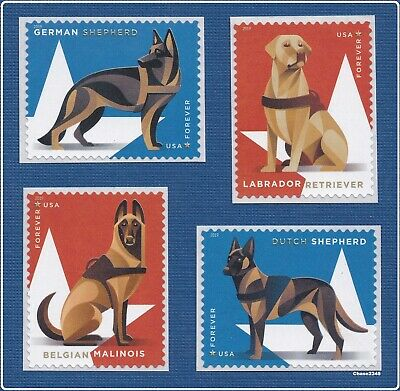 *NEW* 2019 Military Working Dogs (Singles Set of 4) 2019 MNH (Ships after 8/1)