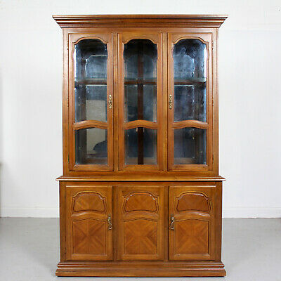 Vintage French Bookcase Triple Library Marquetry Mahogany Glazed Display Cabinet