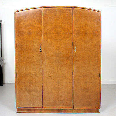 Vintage Art Deco Walnut Compactum Wardrobe Triple Armoire Burl Walnut