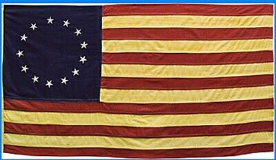"Primitive American Nylon  Betsy Ross 13 STAR FLAG wSLEEVE TEA STAINED 36"" x 60"""