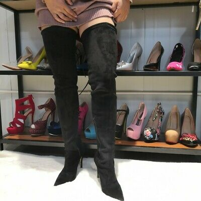 Sexy Women Stilettos Faux Suede Thigh High Boots Pointed Toe High Heel Big Shoes