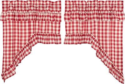 "36""L Country Farmhouse Red Buffalo Check Ruffled Window Swag Set Cotton Annie"