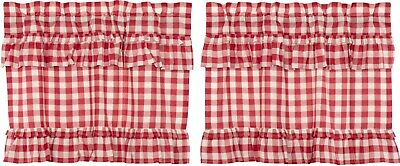 "24"" L Red & White Buffalo Check Ruffled Farmhouse Window Tier Set Lined Annie"