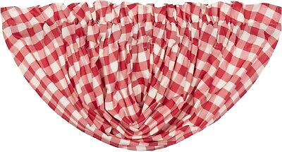 "60"" W Red & White Buffalo Check Balloon Window Valance Country Farmhouse Annie"