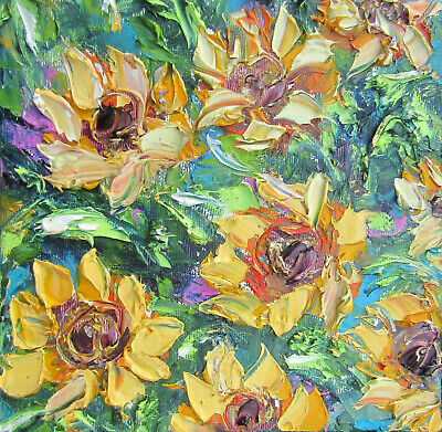 Original - sunflowers flowers oil / palette knife texture painting art by MiMа