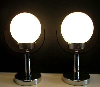 Superbe Pair Of (2) Table Lamps Space Age Modernist Chrome