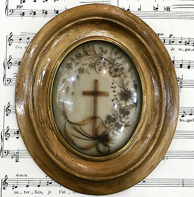 Antique French Mourning Hair Art Domed Glass Oval Wooden Frame c1860