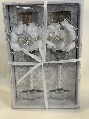 Pair Of Champagne Glass Crystal Decorative Ribbon