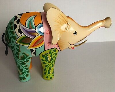 """Whimsical Tin Metal Elephant Statue Colorful Hand Painted & Gold Plated 14""""x10"""""""