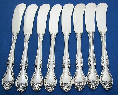 (8) Eight Gorham Sterling Silver Melrose Flat Handled Butter Knives Circa 1948