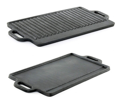 Cast Iron Grill Griddle Stovetop Pan for Camping Pancake BBQ Egg Flat Outdoor