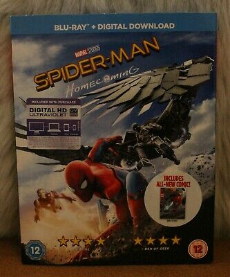 Blu Ray Spider-Man Homecoming Sleeve Edition inc Comic & Digital