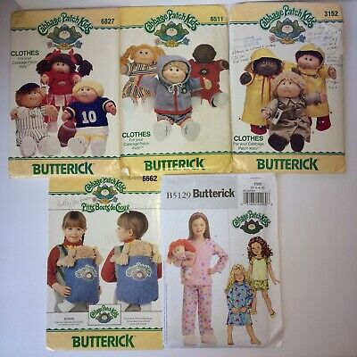 Lot of 5 Cabbage Patch Kids Clothes Sewing Patterns Butterick 3 UNCUT 2 Cut