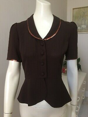 Original Vintage 70s Does 40s Top Blouse ,Peplum & Wasp Waist , Pinup Rockabilly