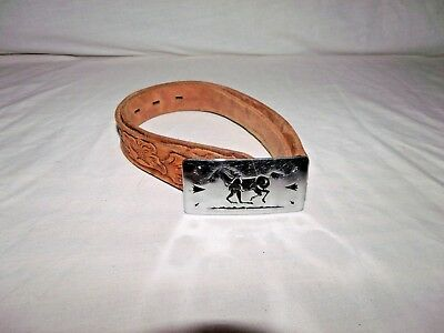 Vintage Chambers Belt Co. Child Size Western Style Belt With Mustang Pony Buckle