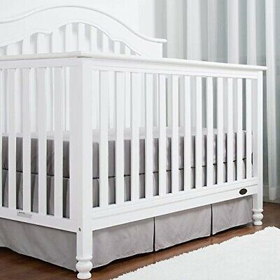 TILLYOU Light Gray Pleated Crib Skirt, 100% Natural Cotton, New