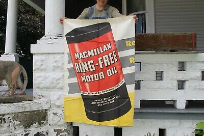"Large Vintage 1940's Macmillan Ring-Free Motor Oil Gas Station 42"" Banner Sign"