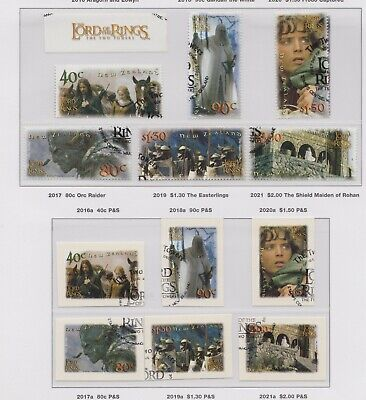 New Zealand 2002 Lord of the Rings - Two Towers Set of 6 + Self-adhesives Used