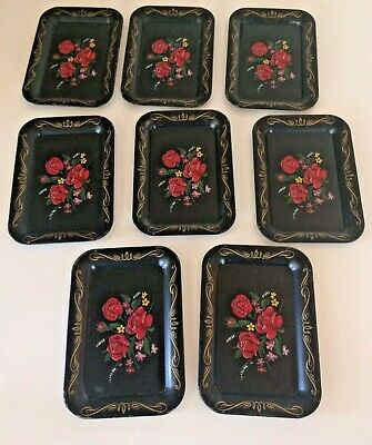 """Vintage Black Cool Floral Tole Ware Mini or Toy Tin Tray 6 5//8"""" X 4 5//8"""""""