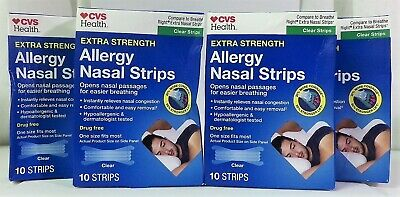 CVS Extra Strength Clear Allergy Nasal Strips 10ct Lot of (4) 40 Strips Total