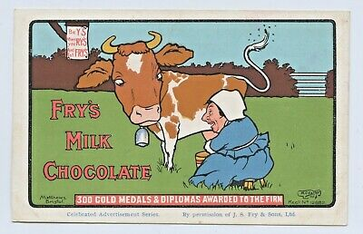 C.1907 Advertising Litho Npu Postcard Fry's Chocolate Cow Milk Maid Medals C85