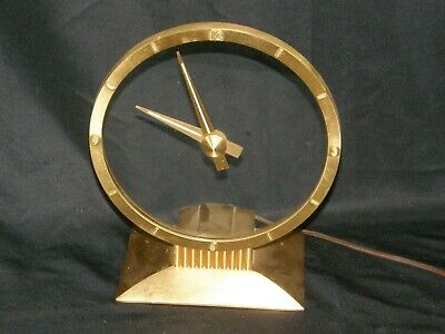 Vintage Jefferson GOLDEN HOUR Electric Clock 1960's Mystery Magic Mantel Runs!