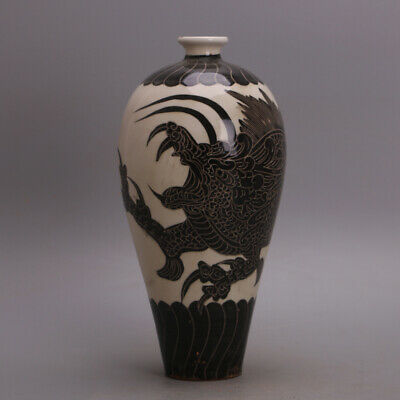 A Fine Collection of Chinese 11thC Song Cizhou Ware Porcelain Dragon Vase
