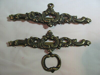 "Vintage Set of Embossed Brass BELL PULL Hangers for 6"" Wide Embroidered Pull"
