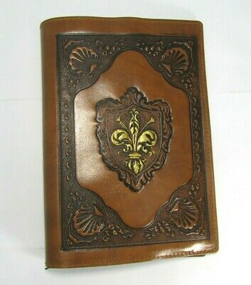 Leather Tooled Brown Book Cover Bible Italy Crest Medival Fleur De Lis Italian
